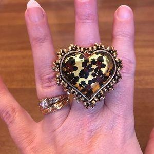 Betsey Johnson Large Heart Ring